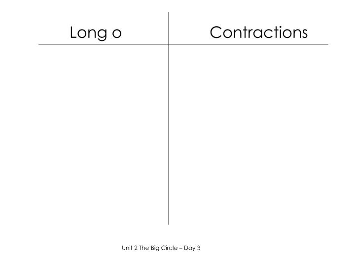 Long o                    Contractions