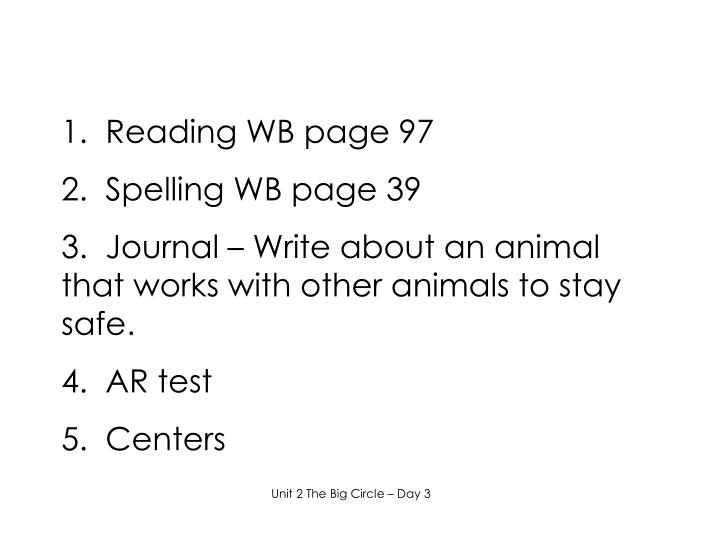 1.  Reading WB page 97