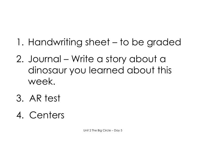 Handwriting sheet – to be graded