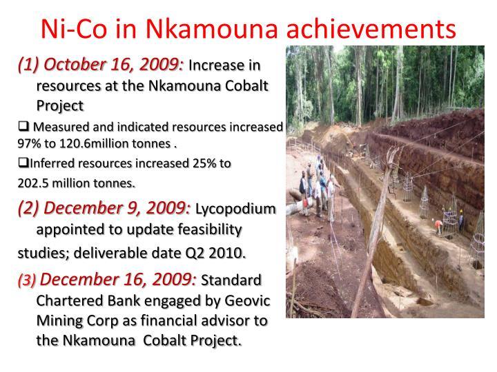 Ni-Co in Nkamouna achievements