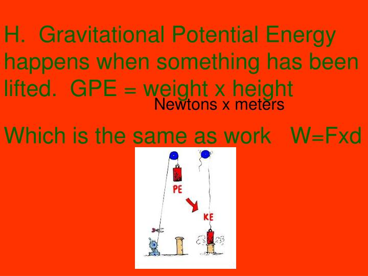 H.  Gravitational Potential Energy happens when something has been lifted.  GPE = weight x height
