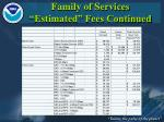family of services estimated fees continued