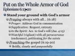 put on the whole armor of god ephesians 6 13 20