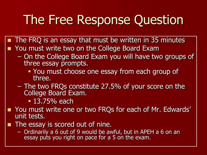 free response essay european history Ap us history free response / dbq predictions i know none of you work for the collegeboard (or if you do your help would be so cool) but what are your all's predictions for the free response and dbq sections of the ap us history exam.