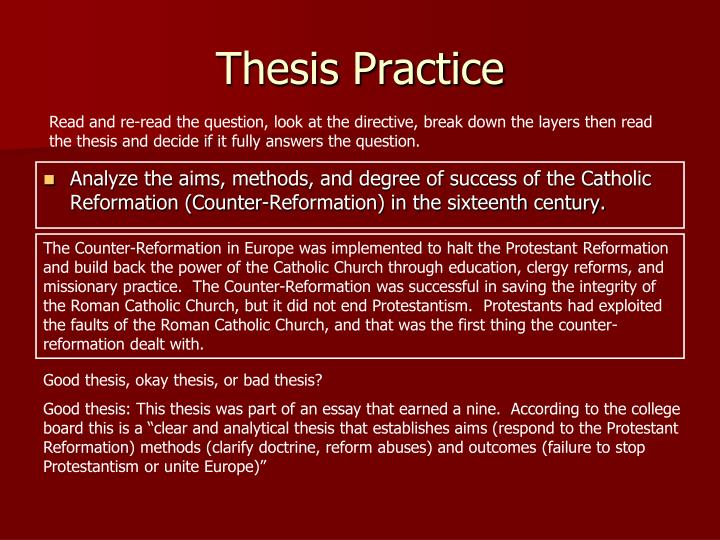 analyze the aims methods and degree of success of the catholic reformation essay How successful was the counter-reformation reformation can be judged a success depends on a world that the catholic church had recognised its.