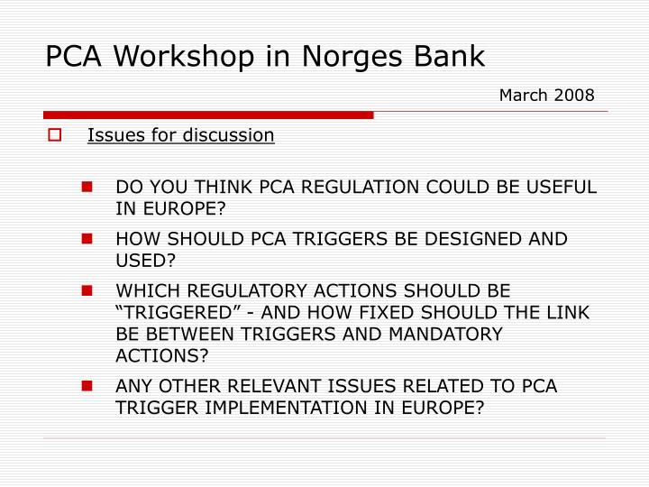 PCA Workshop in Norges Bank