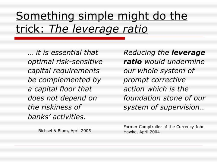 … it is essential that optimal risk-sensitive capital requirements be complemented by a capital floor that does not depend on the riskiness of banks' activities