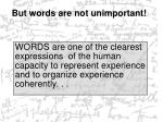 but words are not unimportant