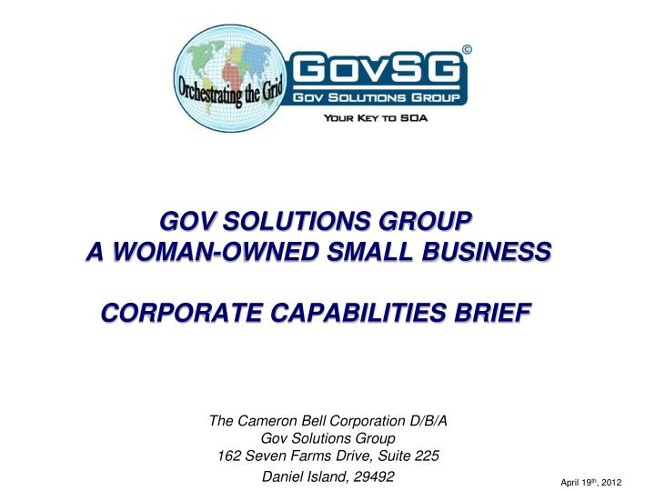 gov solutions group a woman owned small business corporate capabilities brief n.