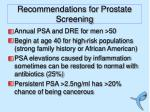 recommendations for prostate screening