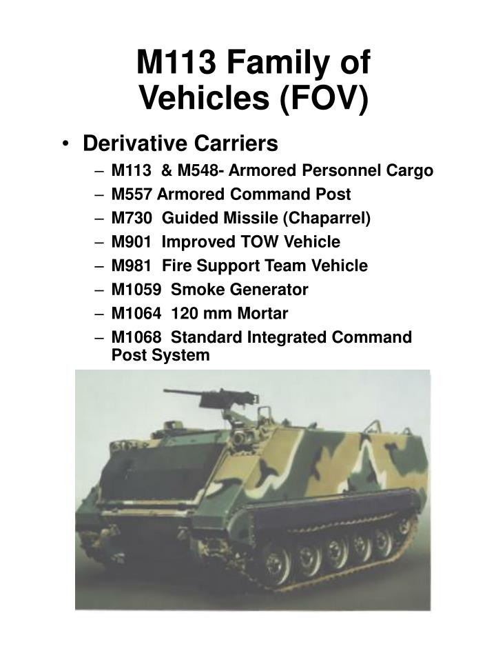 m113 family of vehicles fov n.