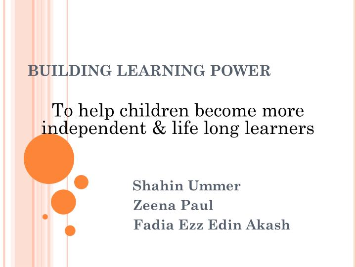 building learning power n.