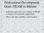 professional development goal team or mentor