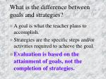 what is the difference between goals and strategies