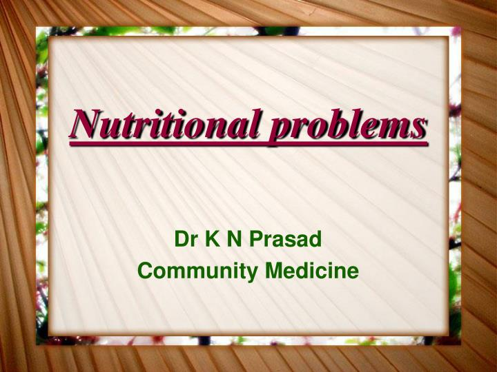 nutritional problems n.