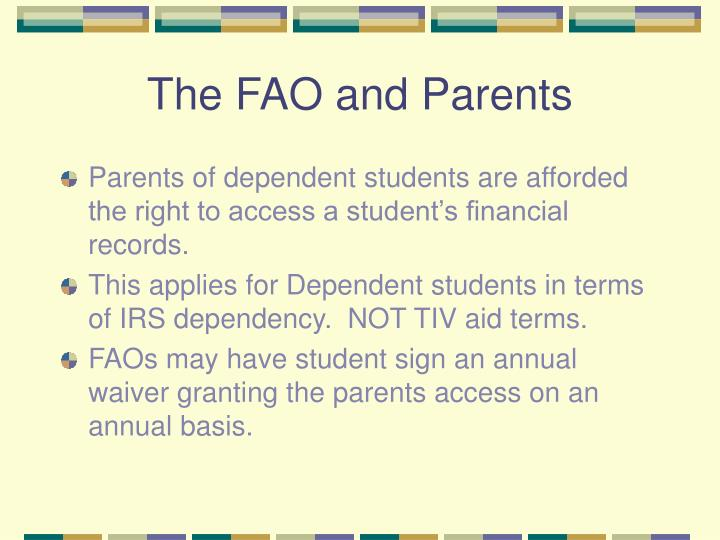 The FAO and Parents