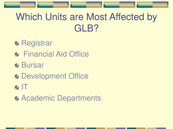Which Units are Most Affected by GLB?