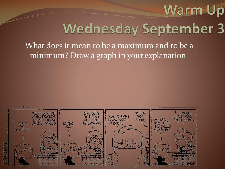 warm up wednesday september 3 n.