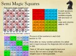 semi magic squares