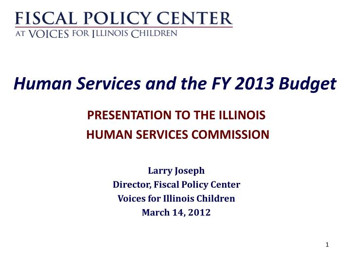 human services and the fy 2013 budget n.