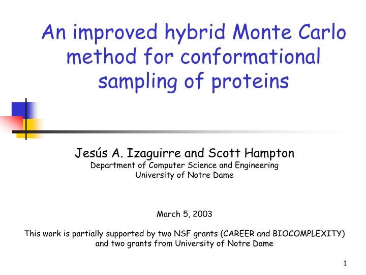 an improved hybrid monte carlo method for conformational sampling of proteins n.