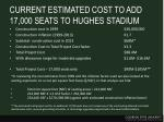 current estimated cost to add 17 000 seats to hughes stadium