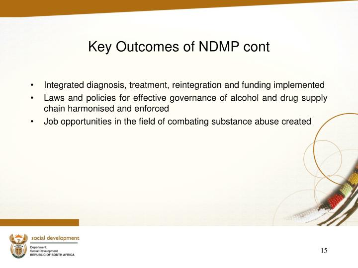 Key Outcomes of NDMP cont