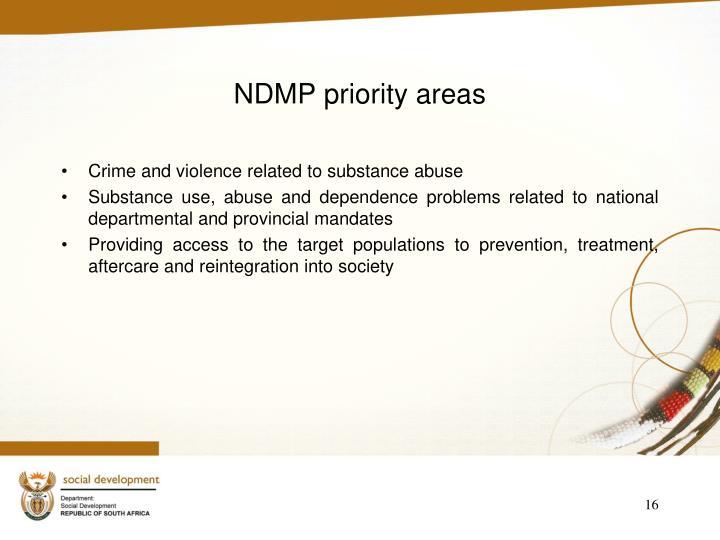 NDMP priority areas
