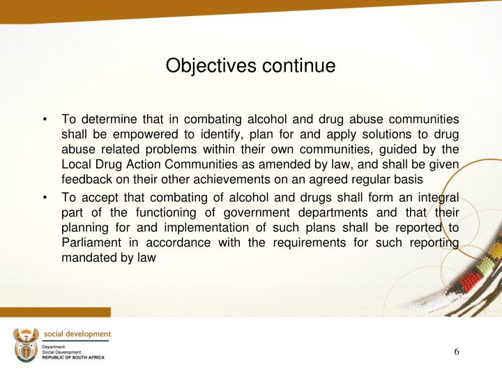 Objectives continue