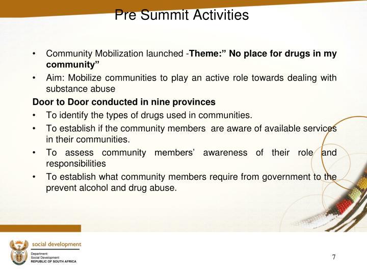 Pre Summit Activities