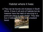 habitat where it lives