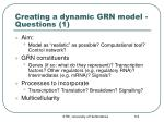 creating a dynamic grn model questions 1
