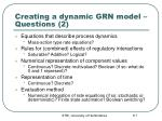 creating a dynamic grn model questions 2