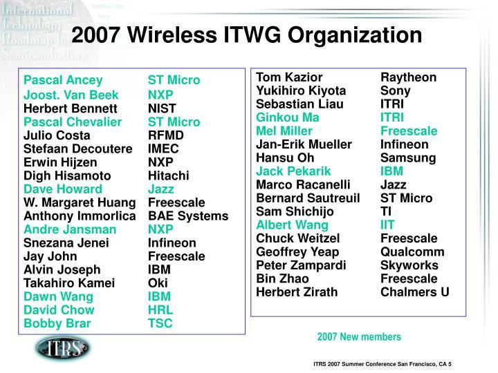 2007 Wireless ITWG Organization