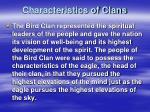 characteristics of clans