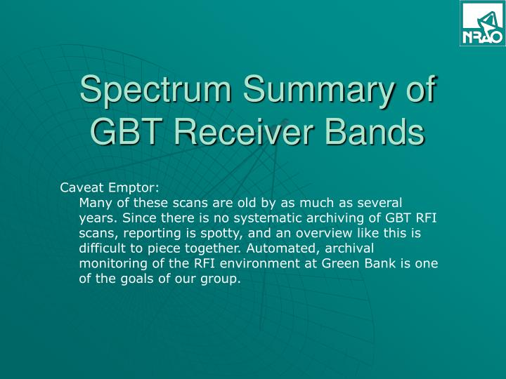 spectrum summary of gbt receiver bands n.