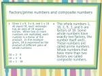 factors prime numbers and composite numbers