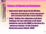 theory of universal relations