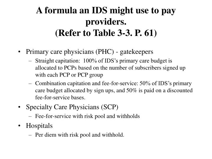 A formula an IDS might use to pay providers.