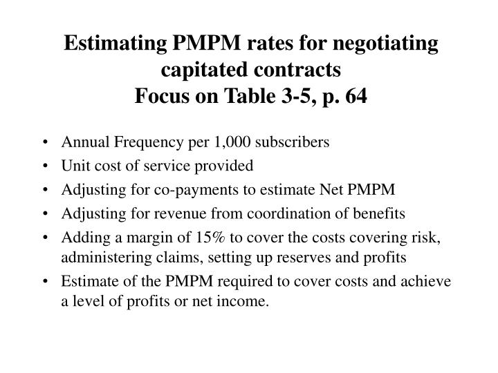 Estimating PMPM rates for negotiating capitated contracts