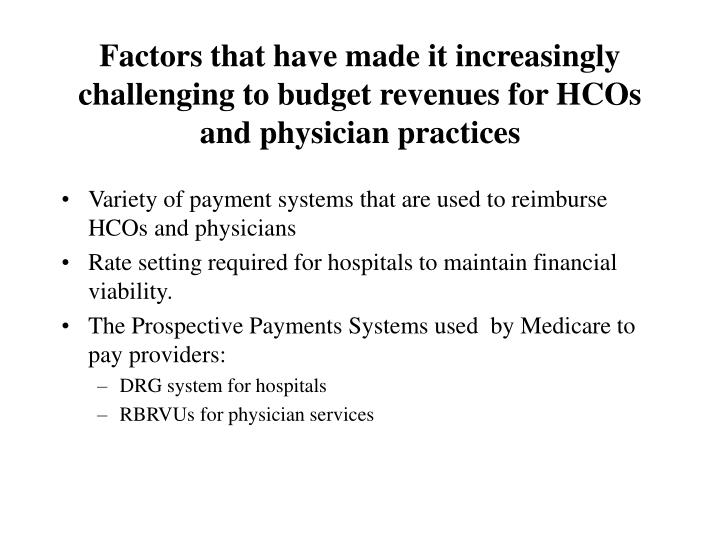Factors that have made it increasingly challenging to budget revenues for HCOs and physician practices