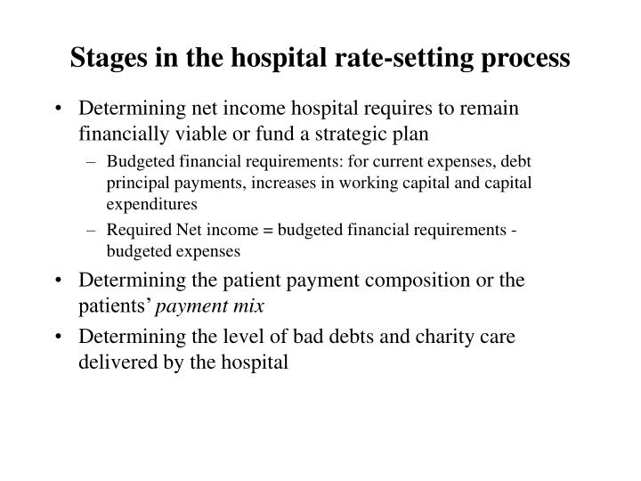 Stages in the hospital rate-setting process
