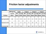 friction factor adjustments