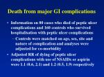 death from major gi complications