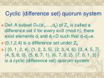 cyclic difference set quorum system