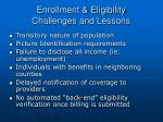 enrollment eligibility challenges and lessons