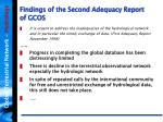 findings of the second adequacy report of gcos