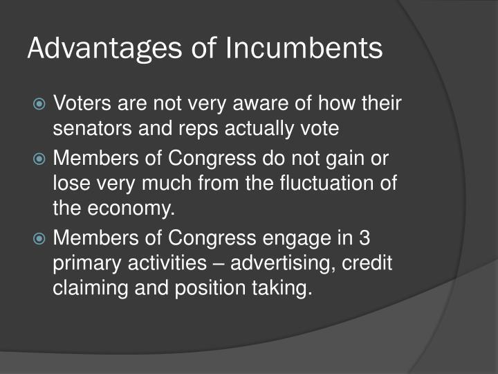 Advantages of Incumbents