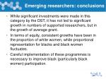 emerging researchers conclusions