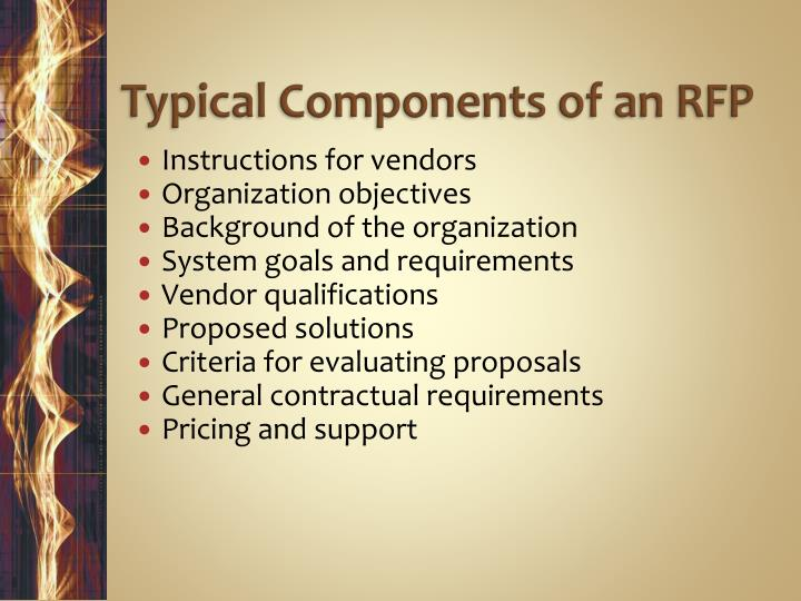 Typical Components of an RFP
